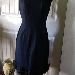 Vintage Black Crepe Dress with Ruffle Size 13